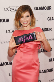 Sophia Bush showed off a funky hashtag clutch by Edie Parker at the Glamour Women of the Year Awards.