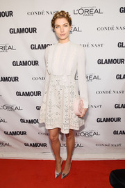 Opting for a demure look, Jessica Hart donned this LWD with a ruffled bodice and a laser-cut skirt for the Glamour Women of the Year Awards.