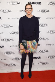 Jenna Lyons went for a playful finish with a rainbow-hued feather skirt.