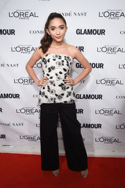 Rowan Blanchard kept it ladylike in a strapless floral top during the Glamour Women of the Year Awards.