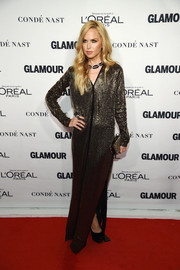 Rachel Zoe glimmered in a bronze chainmail gown by Tom Ford at the Glamour Women of the Year Awards.