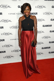 Viola Davis chose a sexy-chic black and red halter gown for her Glamour Women of the Year Awards look.
