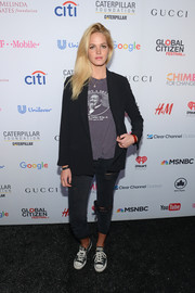 Erin Heatherton joined the Global Citizen Festival wearing a black blazer over a Martin Luther King, Jr. shirt.