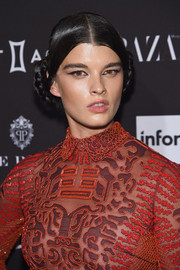Crystal Renn channeled Princess Leia with these braided buns at the 2015 Harper's Bazaar Icons event.