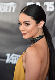 Vanessa Hudgens styled her long tresses into a sleek ponytail for the Industry Dance Awards.