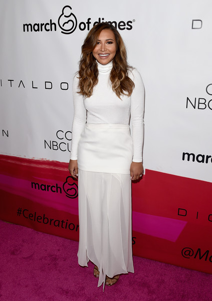 Naya Rivera showed off her post-pregnancy figure in a white turtleneck bodysuit by Wolford at the March of Dimes Celebration of Babies.