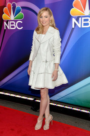 Melissa George was edgy-cute in a white leather jacket paired with a flirty LWD at the NBC Upfront Presentation.