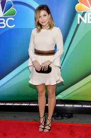 Sophia Bush was all legs at the NBC Upfront Presentation in a cream-colored Jill Stuart mini dress with a fluted hem and sleeves.