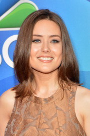 Megan Boone topped off her look with a bouncy layered cut when she attended the NBC Upfront Presentation.