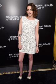 Kristen Stewart chose a pair of black-and-white Chanel mules to complete her outfit.