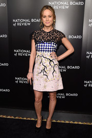 Brie Larson rocked clashing patterns in this beaded and embroidered Giambattista Valli Couture mini dress at the National Board of Review Gala.