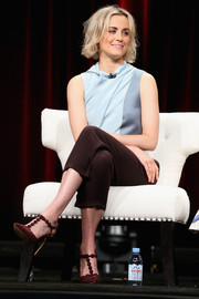 Taylor Schilling wore a pair of burgundy T-strap pumps by Nicholas Kirkwood at the 2015 Summer TCA Tour.