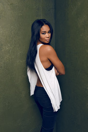 Chanel Iman was casual-sexy in an open-back tank top during her Sundance portrait session.