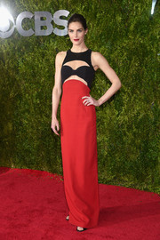 Hilary Rhoda went the ultra-modern route in a red and black cutout gown by Michael Kors during the Tony Awards.