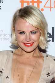 Malin Akerman styled her short blonde locks with flippy ends for the 'Final Girls' photocall at TIFF.