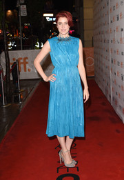 Greta Gerwig made leather look so girly with this richly textured aqua-blue Gucci number she wore to the TIFF premiere of 'Maggie's Plan.'
