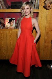 Dianna Agron looked sweet and youthful in a red fit-and-flare halter dress during the after-party for 'Bare.'