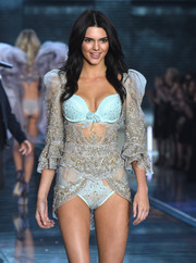 Kendall Jenner donned an embellished bra and sheer top during the Victoria's Secret Fashion Show.