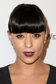 Tia Mowry attended the Weinstein Company and Netflix Golden Globes party wearing a ponytail and what must have been the bluntest bangs in all of Hollywood.