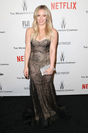 Hilary Duff was boho-glam in a swirl-beaded strapless gown by Rani Zakhem Couture at the Weinstein Company and Netflix Golden Globes party.