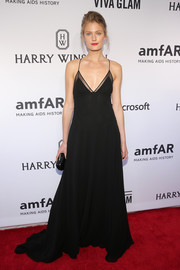 Constance Jablonski attended the amfAR Inspiration Gala looking sultry in a lingerie-style gown by Sophie Theallet.