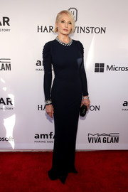 Ellen Barkin was the picture of timeless elegance at the amfAR Inspiration Gala in a navy column dress by Alexander McQueen, perfectly styled with some sparkly jewels.