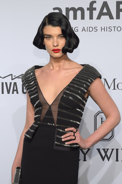 More Pics of Crystal Renn Red Lipstick (1 of 3) - Makeup Lookbook - StyleBistro [clothing,fashion model,dress,shoulder,fashion,beauty,hairstyle,neck,model,black hair,arrivals,crystal renn,new york city,cipriani wall street,amfar new york,amfar new york gala]