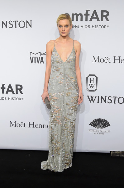 Jessica Stam made tatters look so glam with this distressed silver slip dress by Kaufmanfranco at the amfAR New York Gala.