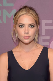 Ashley Benson sported a messy-chic ponytail when she attended the ABC Freeform Upfront.