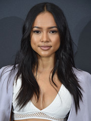 Karrueche Tran wore a casual yet stylish center-parted layered cut at the 2016 AOL NewFront.