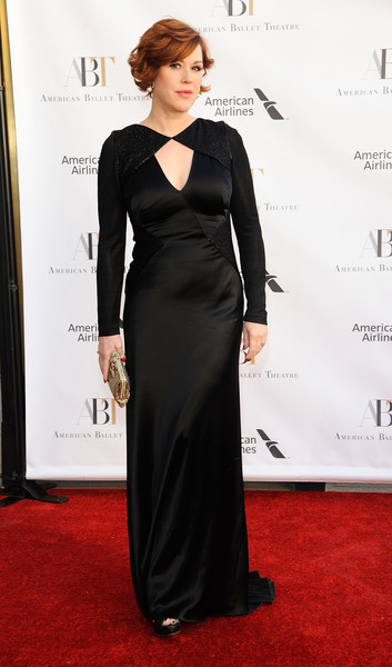 Molly Ringwald chose a black column dress with a yoke cutout for the American Ballet Theatre Spring Gala.