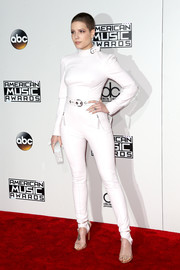 Halsey rocked a fitted white leather jumpsuit by Ermanno Scervino at the 2016 AMAs.