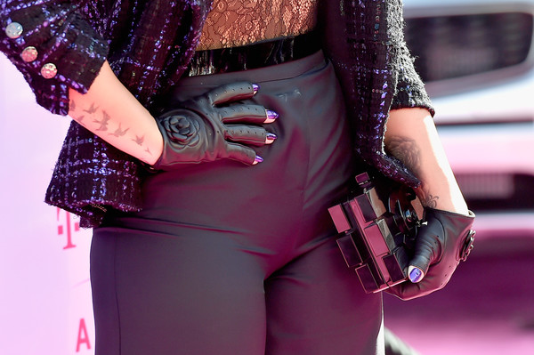 More Pics of Demi Lovato Leather Gloves (1 of 7) - Leather Gloves Lookbook - StyleBistro [tattoo,clothing,purple,pink,fashion,magenta,violet,street fashion,outerwear,waist,hand,arrivals,demi lovato,billboard music awards,fashion detail,las vegas,nevada,t-mobile arena]