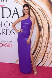 Alessandra Ambrosio brought a vibrant pop of color to the 2016 CFDA Fashion Awards with this shimmering purple one-shoulder gown by Michael Kors.