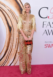 Elsa Hosk was a gilded beauty in this Naeem Khan paillette-and-fringe-embellished jumpsuit at the 2016 CFDA Fashion Awards.