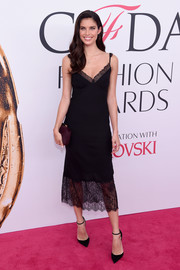 Sara Sampaio looked seductive in a lace-accented black slip dress by Diane von Furstenberg at the 2016 CFDA Fashion Awards.