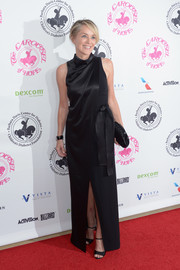 Sharon Stone looked simply elegant in a draped black column dress at the 2016 Carousel of Hope Ball.
