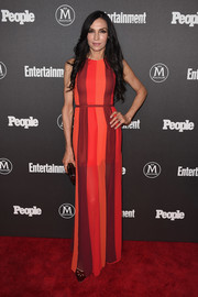Famke Janssen brought a bright pop to the Entertainment Weeky and People New York Upfronts with this color-block maxi dress.