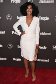 Tracee Ellis Ross looked smart in a plunging white tuxedo dress during the Entertainment Weekly and People New York Upfronts.