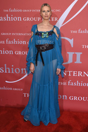 Karolina Kurkova was boho-sexy in a sheer blue cold-shoulder gown by Alberta Ferretti at the 2016 Fashion Group International Night of Stars Gala.