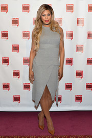 Laverne Cox was casual-chic in a sleeveless gray knit top by Topshop at the Forbes Women's Summit.