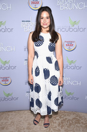 Katie Lowes looked youthful in a perforated polka-dot dress by L.K.Bennett at the 2016 Garden Brunch.