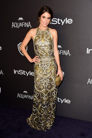 Nikki Reed looked opulent in an intricately embroidered Naeem Khan gown at the InStyle and Warner Bros. Golden Globes post-party.