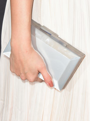 Selena Gomez paired her flowing gown with a structured box clutch by Rauwolf.