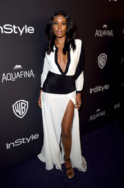 Gabrielle Union sizzled at the InStyle and Warner Bros. Golden Globes post-party in a black-and-white Giulietta shirtdress with an unbuttoned front and a thigh-high slit.
