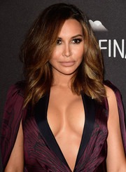 Naya Rivera went for a low-key beauty look with nude lipstick.