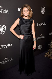 Sarah Hyland exuded classic elegance in a black satin cowl-neck gown by Amanda Wakeley at the InStyle and Warner Bros. Golden Globes post-party.