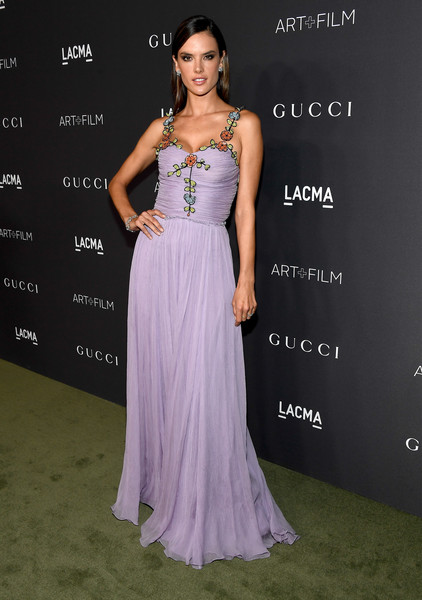 Alessandra Ambrosio in a lavender Gucci confection