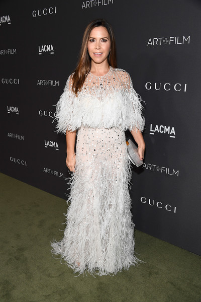 Monique Lhuillier wowed in a beaded and feathered confection from her own label at the 2016 LACMA Art + Film Gala.