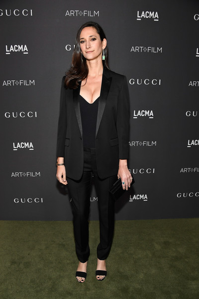 Bettina Korek in a menswear-inspired suit